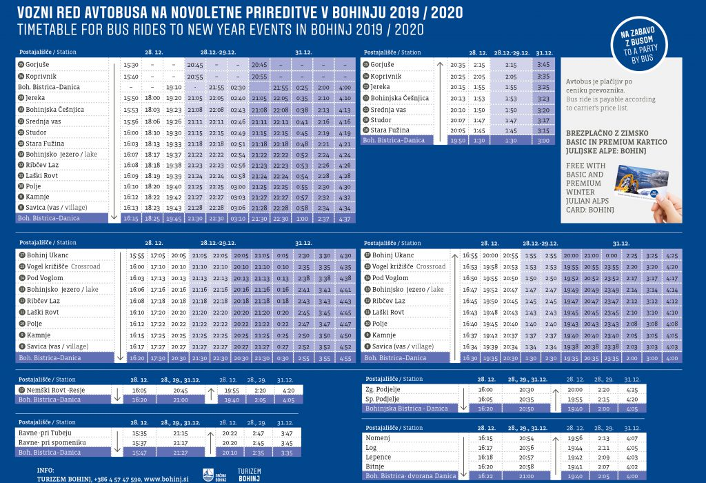 Timetable for the bus rides to New year events in Bohinj